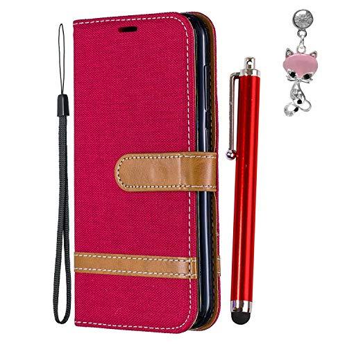 Hirkase Nokia 4.2 2019 Hülle, Nokia 4.2 2019 Hülle Wallet Colorblock Denimholster Handyhülle PU Leder Tasche Case Schutzhülle für Nokia 4.2 2019 (Rot)+Stylus Pen+Staubschutz