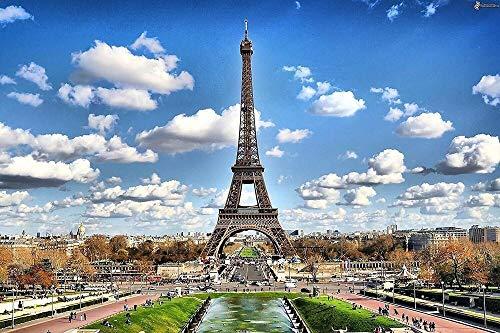 Diamant schilderij 5D DIY diamant ronde diamant Eiffeltoren 45 x 30 cm mozaïek decoratie accessoires voor thuis wanddecoratie
