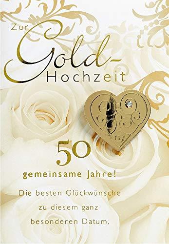 Karte zur Goldhochzeit Lifestyle - Rosen, Kristallsticker - 11,6 x 16,6 cm