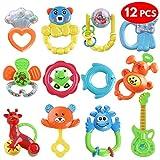 12 Baby Toy Rattle Geschenkset - Attraktive Beißringe