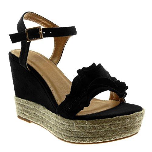 Angkorly - Damen Schuhe Sandalen Espadrilles - Plateauschuhe - mit Rüschen - Strass - Seil Keilabsatz high Heel 11 cm - Schwarz WH875 T 37
