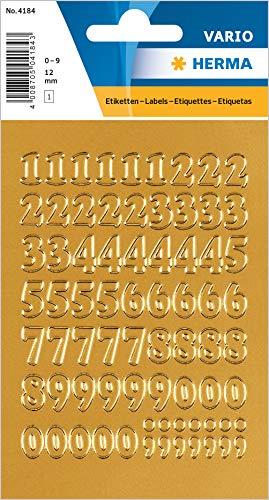 HERMA 4184 Zahlen Aufkleber 0 - 9 aus Goldfolie (Schriftgröße 12 mm, 1 Blatt, Folie) selbstklebend, permanent haftende Ziffern Sticker, 63 Etiketten, gold