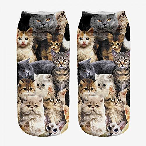 FHCGWZ 5 stks/set Fahion Leuke Print Vrouwelijke Sokken Vrouwen Laag Gesneden Enkelsok Casual Hosiery 3D Printing Cat Canvas Schoenen Sox