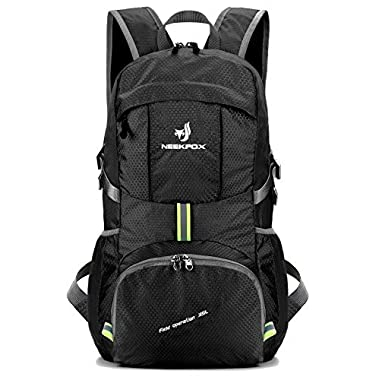 NEEKFOX Lightweight Packable Travel Hiking Backpack Daypack, 35L Foldable Camping Backpack, Ultralight Outdoor Sport Backpack (Black)