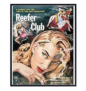 Marijuana Decor - Weed Cannabis Marijuana Accessories - Pothead Gifts for Men Women Pot Smoker - Stoner Room Decor - Vintage Hollywood Movie Poster - Reefer Madness - Dope Wall Art