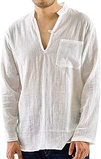 Men's Chest Pocket Button Shirt Mens Vintage Breathable Thin V-Neck Solid Loose Chest Pocket T Shirts Blouses