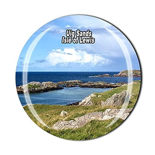 Uig Sands Isla de Lewis Escocia Reino Unido Imán para nevera viaje recuerdo regalo 3D cristal decoración del hogar cocina magnética etiqueta