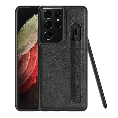 Progettato per Samsung Galaxy S21 Ultra Custodia compatibile con S-Pen integrata, custodia in pelle PU con supporto per penna [solo custodia non inclusa penna]