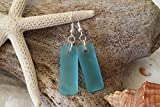 Handmade in Hawaii, blue sea glass rectangle earrings, (Hawaii Gift Wrapped, Customizable Gift Message)