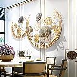WSND 3D Creativo Decorazione da Parete in Metallo, Composizione Quadro in Metallo, Foglie Dorate Fatta a Mano Scultura da Parete, 110 x 67 cm