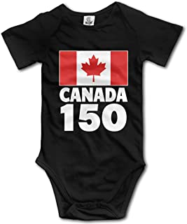 Canada 150 Unisex Solid Baby Short Sleeve Bodysuit Rompers 0-24 Months
