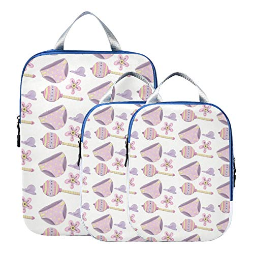 Montoj bragas púrpura ANG Lollipops cubos de embalaje de viaje, juego de 3 organizadores de equipaje
