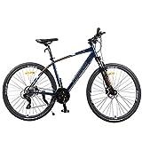 FANG Bicicleta de montaña para mujer y niña, 26 pulgadas, 27 marchas, marco de aluminio, con frenos de disco con guardabarros incluido, color azul