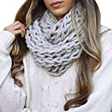 Leto Collection Soft Woven Stylish Cold Weather Warm Chunky Thick Knit Infinity Loop Scarf (One Size, Grey)