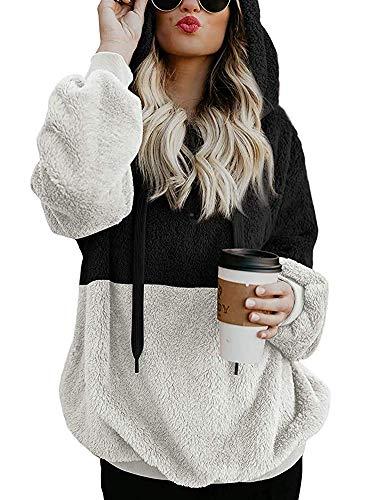 Romanstii Damen Kapuzenpullover mit Reißverschluss Winter Sweatjacke Sweatshirt Pullover mit Tasche