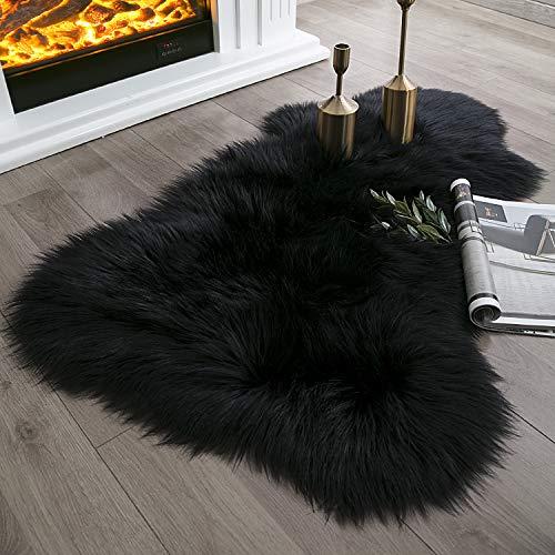 Ashler Soft Faux Sheepskin Fur Chair Couch Cover Black Area Rug for Bedroom Floor Sofa Living Room 2 x 3 Feet
