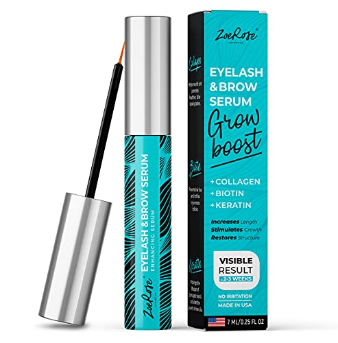 Eyelash Growth Serum - Multipurpose Serum to Boost Lash & Eyebrow Growth - Made in USA - Premium Eyebrow Growth Serum with Biotin, Collagen & Keratin for Long, Thick Lashes and Eyebrows - 7ml…