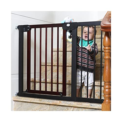 ZEMIN Triple Lock Baby Safety Gates,Corridor Pet Dog Isolation Gate,Multi-Size Stair Guardrail (Color : Red-Brown, Size : 104-111cm)