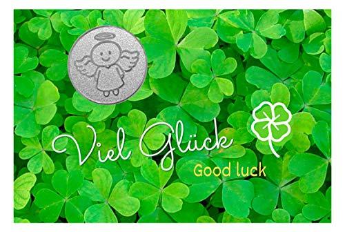 Paul & Lilli Engelige Grüße - Viel Glück Schutzengel - Glücksmünze Smiling Paul Silber - Good Luck Glücksbringer Talisman Engel Hosentasche Münze
