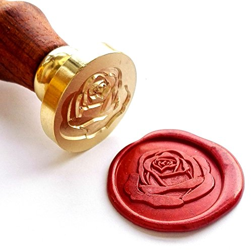 VOOSEYHOME Elegant Rose Wax Seal Stamp with Rosewood Handle, Decorating on Invitation Envelope Sealer Letter Poster Card Snail Mail Gift Packing for Birthday Themed Holiday Parties Weddings Signatures
