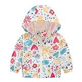 MRULIC Mädchen Kinder Jungen Floral Bedruckter Frühling mit Kapuze Licht Mantel Reißverschluss Jacke Tops Sonnenschutz Kleidung 1-6 Jahre(B-Mehrfarbig,120-130CM)
