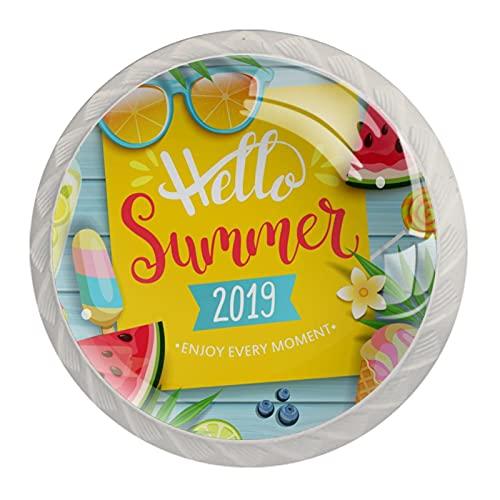 4 stycken skåpknoppar kristallglas lådhandtag, hej sommar 2019, för byrå skrivbord köksdörr