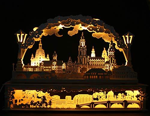 3D LED Schwibbogen Stadtansicht Dresden inkl. Sockel Elbwiesen - 80x55cm - Handarbeit Erzgebirge erzgebirgischer