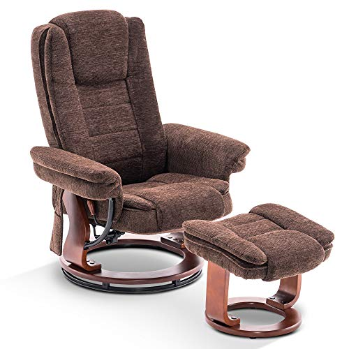 Mcombo Recliner Chair with Ottoman, Fabric Accent Chair with Vibration Massage, Swivel Chair with Wood Base, for Living Reading Room Bedroom, 9099 (Brown)