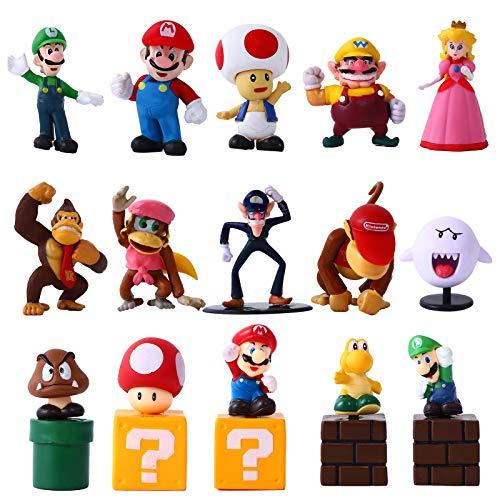 YNK Super Mario Toys, 10 Pcs Figuras de Mario y 5 tocón de árbol Juguete de PVC de Mario, Super Mario Bros Regalos para Niños (A)