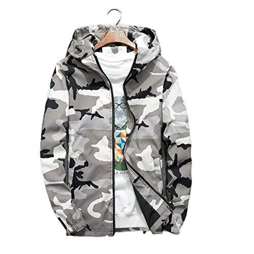 EQKWJ Primavera otoño Chaquetas con Capucha Camuflaje Abrigos Militares Casual Cremallera Masculina Rompevientos Gray XL