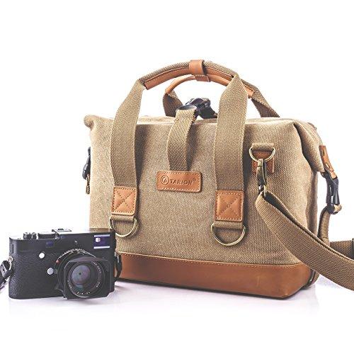 Tarion TB-03 Borsa di tela impermeabile per fotocamera DSLR SLR Mirrorless. Messenger Bag fotografica, per macchina fotografica digitale, grande borsa a tracolla antiurto, colore cachi