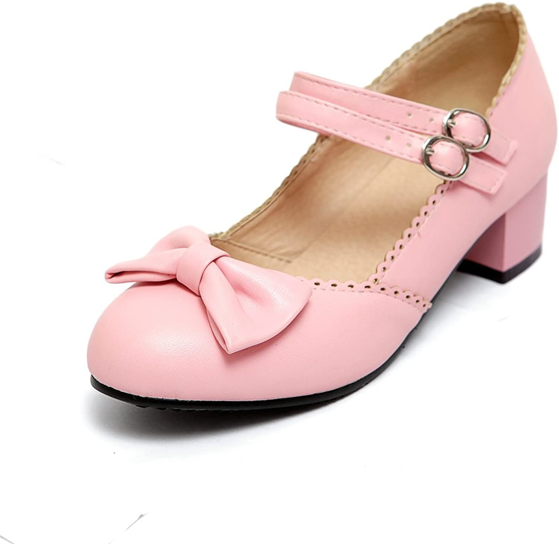 AIWEIYi Womens Sweet Bow Chunky Heel Dress Pump Mary Janes shoes Purple