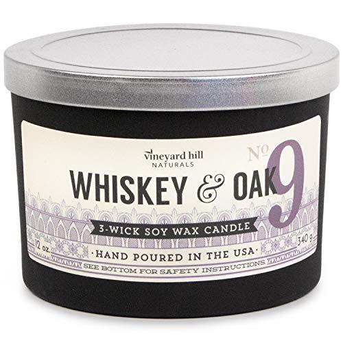 Vineyard Hill Naturals Matte Black Letterpress 3-Wick Scented Candle, 12-Ounce, Whiskey & Oak
