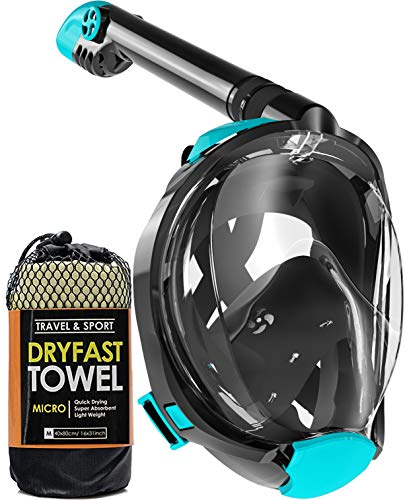 cozia design Full Face Snorkel Mask - 180° Panoramic View Scuba Mask, Safe Breathing System for Longer Diving, Anti Fog and Anti Leak Snorkeling Gear with Camera Mount, Fast Drying Microfiber Towel