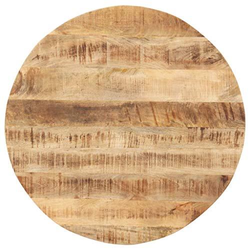 vidaXL Mangoholz Massiv Tischplatte Massivholzplatte Holzplatte Ersatztischplatte Holz Platte für Esstisch Esszimmertisch Rund 15-16mm 50cm