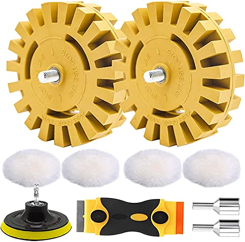 STARHAND 9 Pcs Eraser Wheel, 4 Inch Stripe Heavy Duty Rubber Wheel, Decal Adhesive Remover with Pads and Drill Adapter, for Removing Stickers, Adhesive Decals from Cars, Boats, Trucks