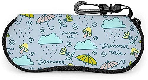 Tcerlcir Estuche para anteojos Estuche para gafas pintadas con nubes de lluvia y paraguas, comida para picnic, estuche para gafas de sol suaves, estuche para anteojos para mujeres y hombres, 17x8cm