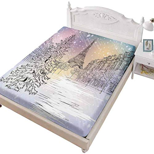SoSung Twin Size Fitted Sheet 3D Printed with Winter ations Epic Majestic,Epic Cloudy Sky Over Majestic Mountains and Footsteps on,Bed Cover with All-Round Elastic Deep Pocket for Comfort