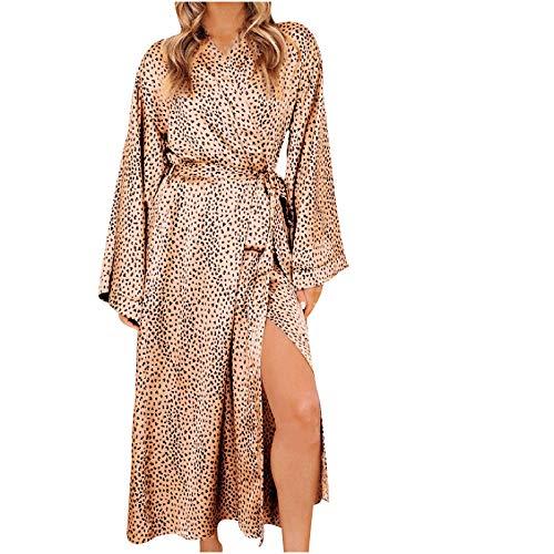 Huluob Damen-Kimono-Morgenmantel mit Leoparden-Muster, seidiger Satin-Nachthemd, lang und leicht, Schlafkleidung mit V-Ausschnitt und Taschen, Bathrobe Nightgown, Capri, Braun XXL