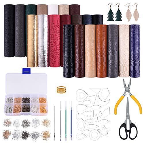 MIAHART Paquete de 21 hojas de piel sintética con moldes de corte de pendientes y pendientes de piel para hacer arcos y manualidades (6 x 21 cm, 3 estilos)