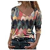 Camiseta para mujer, cuello en V, cremallera, sudadera con estampado geométrico de diamantes, otoño-invierno, retro, con capucha, estampado, casual, multicolor, bloque de colores. rojo M