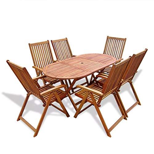 mewmewcat 7-TLG. Akazienholz Gartenmöbel-Set Holz Essgruppe Gartengarnitur Sitzgruppe inkl. 1 Klapptisch und 6 Klappstühlen