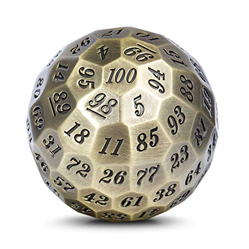 DNDND Metal Dice D100 Single 50mm 100 Sided Polyhedral Dice with Metal Case and Velvet Pouch for Table Game(Ancient with Black Number)