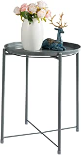 HollyHOME Tray Metal End Table, Sofa Table Small Round Side Tables, Anti-Rust and Waterproof Outdoor & Indoor Snack Table, Accent Coffee Table, 20.3