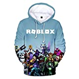 Roblox Pullover Sudadera con Capucha Sudadera con Capucha for niños Tops Casuales Camisetas de Manga Larga con Estampado for niños Roblox Abrigos (Color : A04, Size : 140)