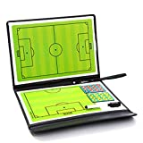 Daxerg Tactical Board Trainning Assisitant - Tabla de Entrenamiento de fútbol (2,5 Pliegues, Piel)