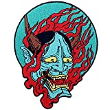 Samurai Hannya oni Patch Embroidered Applique Badge Iron On Sew On Emblem