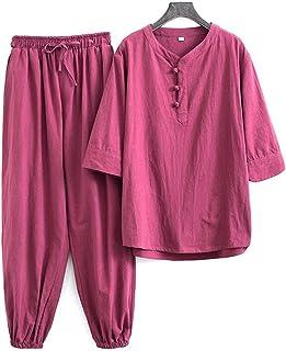 FMOGQ Bawełna len Tai Chi mundurek mężczyźni krótki rękaw tradycyjne ubrania topy spodnie, tang garnitur Hanfu kurtka Kung...