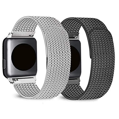 Mugust 2 Pack Kompatibel für Apple Watch Armband 42mm 44mm 38mm 40mm, Metall Edelstahl Ersatz Armband Kompatibel mit iWatch Series 5/4/3/2/1 (01 Schwarz/Silber, 42mm/44mm)
