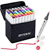 Best Marker Pens - GOTIDEAL 48 Colors Alcohol Markers,Dual Tips Permanent Sketch Review
